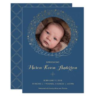 Das Foto-Geburts-Mitteilung des Jungen - religiös 12,7 X 17,8 Cm Einladungskarte