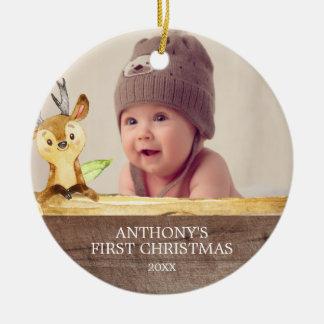 Das Foto-Weihnachtsverzierung des niedlichen Rundes Keramik Ornament