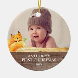 Das Foto-Weihnachtsverzierung niedlichen Fox-Babys Rundes Keramik Ornament