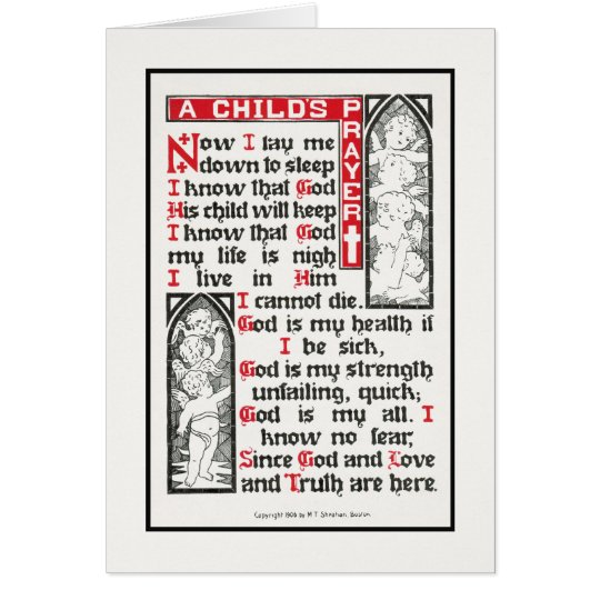 Das Gebet eines Kindes: Jetzt lege ich mich Karte