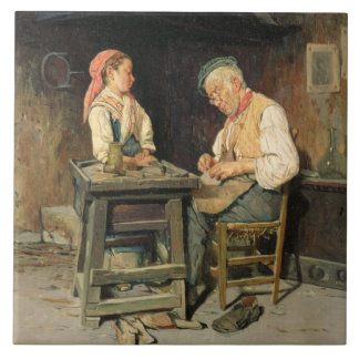 Das Geschäft des Schusters, 1874 (Öl auf Platte) Fliese