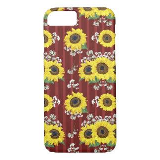 Das gestreifte rote frische Sonnenblume-nahtlose iPhone 8/7 Hülle