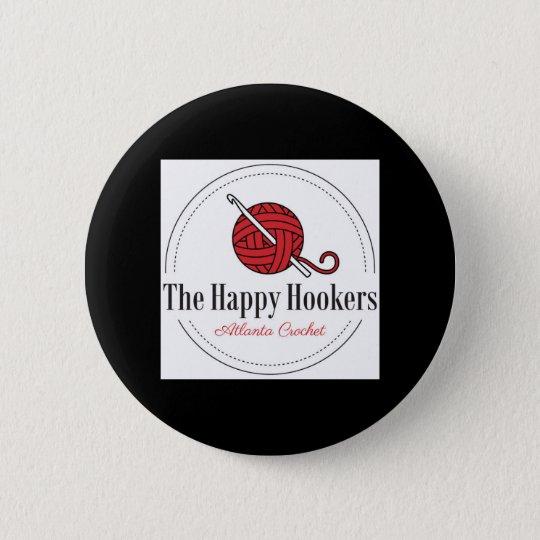 Das glückliche Häkelarbeit-Logo Knopf-Schwarze H Runder Button 5,7 Cm