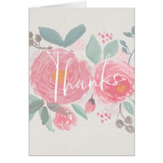 Das handgemalte Blumen Aquarell danken Ihnen zu Karte