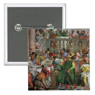 Das Heirat-Fest bei Cana, Detail des Festlich bewi Quadratischer Button 5,1 Cm