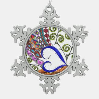 Das Herz der Weihnachtsverzierung Schneeflocken Zinn-Ornament
