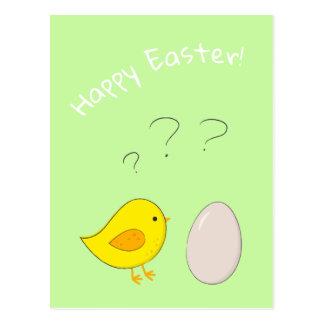 Das Huhn oder der Ei niedliche Ostern-Cartoon Postkarte