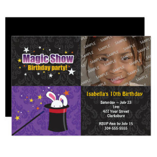 Das Kaninchen-Geburtstags-Party des Magiers Karte