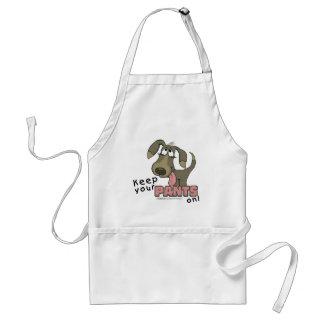 Das Keuchen Hund-Behalten Hosen an Schürze