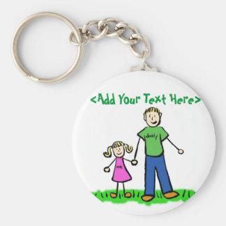 Das kleine Mädchen Keychain des Vatis (blond) Standard Runder Schlüsselanhänger