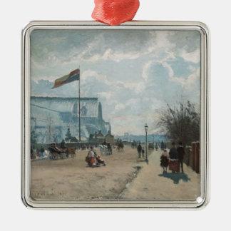 Das Kristallpalast ~ Camille Pissarro Quadratisches Silberfarbenes Ornament