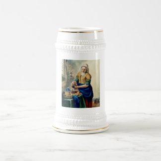 """""""Das Küchen-Mädchen"""", nach Vermeer, Aquarell-Kunst Bierglas"""