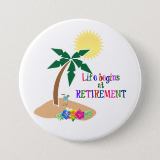 Das Leben fängt am Ruhestand, tropischer Strand an Runder Button 7,6 Cm