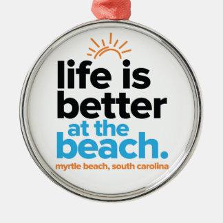 Das Leben ist am Strand besser Rundes Silberfarbenes Ornament