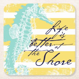 Das Leben ist am Ufer besser Rechteckiger Pappuntersetzer