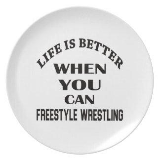 Das Leben ist besser, wenn Sie Freistil-Wrestling Essteller