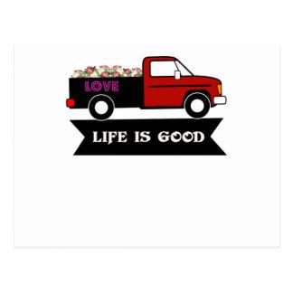 Das Leben ist, Blumen LKW, Geschenk für Postkarte