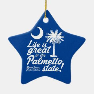 Das Leben ist im Palmetto-Staat groß! Keramik Stern-Ornament