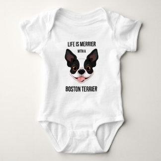 Das Leben ist mit einem Boston Terrier fröhlicher Baby Strampler