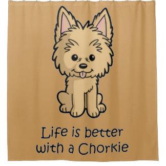 Das Leben ist mit einem Chorkie besser Duschvorhang