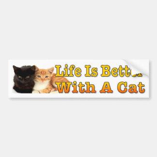 Das Leben ist mit einer Katze mit niedlichen Autoaufkleber