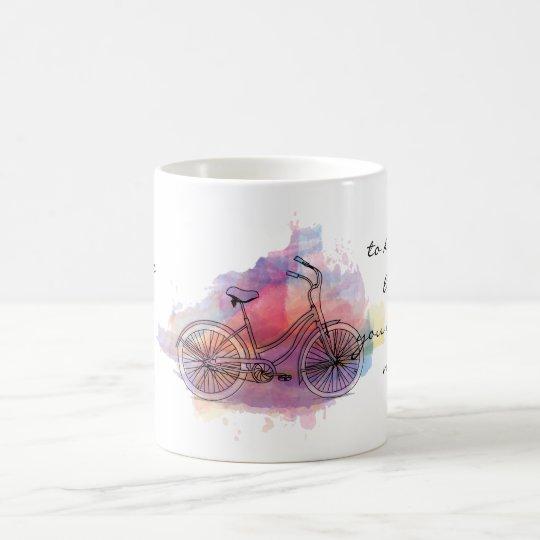 Das Leben ist wie das Fahren Fahrrads Kaffeetasse