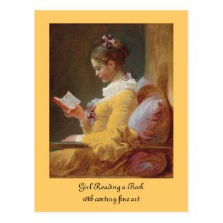 Das Leser-französische Mädchen im gelben Kleid Postkarte
