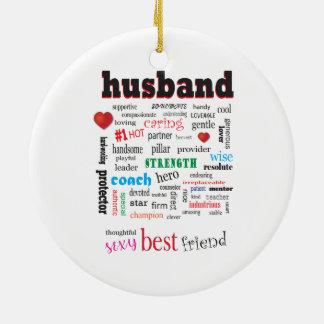 Das Lieben und kümmerte Ehemann-Wort-Wolke Keramik Ornament