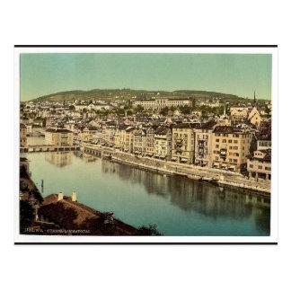 Das Limmatquay, mit Polytechnik, Zürich, Switzerl Postkarte