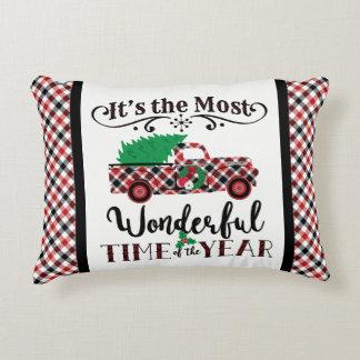Das meiste wunderbares Zeit-Weihnachtskarierte Dekokissen