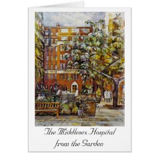 Das Middlesex-Krankenhaus vom Garten Notelet Karte