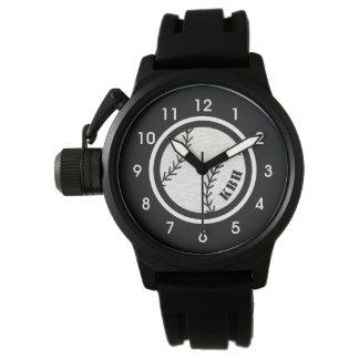Das Monogramm-Baseball-Uhr-Schwarzes der Männer Uhr