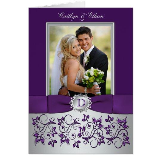 Das Monogramm, das, das silberne Blumen Grau lila Mitteilungskarte