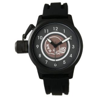 Das Monogramm-Football-Helm-Uhr-Gummi-Bügel der Uhr