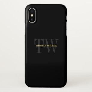 Das Monogramm-modernes unbedeutendes Schwarzes u. iPhone X Hülle