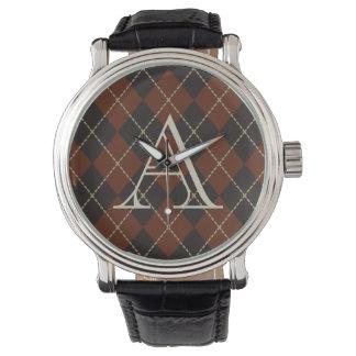Das Monogramm-Rauten-Uhr-Geschenk der Männer Uhr