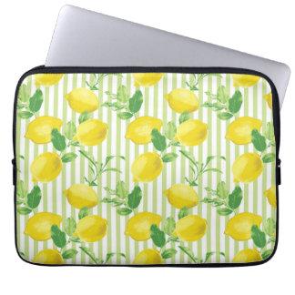 Das neuer gestreifter Zitronen-vektornahtlose Laptop Sleeve