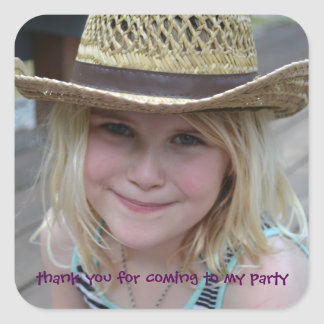 Das personalisierte Party der Kinder danken Ihnen Quadratischer Aufkleber