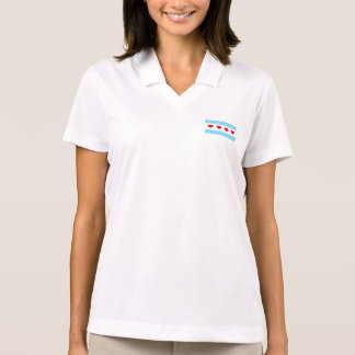 Das Polo-Shirt der Chicago-Herz-Flaggen-Frauen Polo Shirt