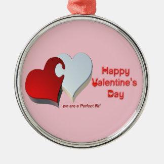Das Puzzlespiel des Valentinsgrußes Rundes Silberfarbenes Ornament
