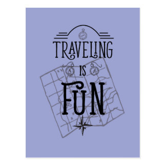 Das Reisen ist motivierend Zitat des Spaßes Postkarten