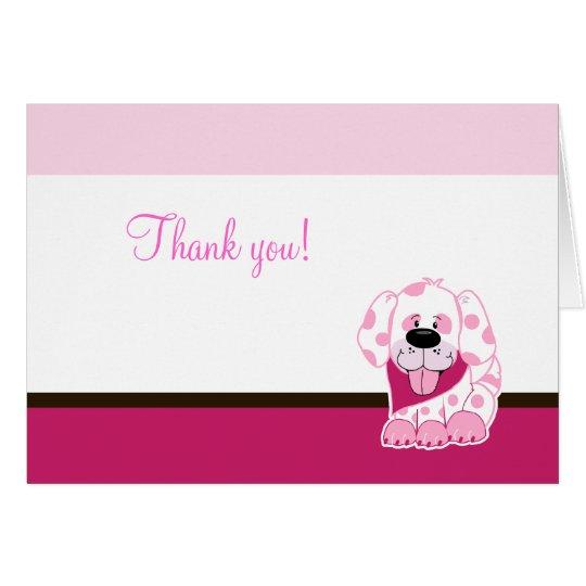 Das rosa gefaltete Hündchen danken Ihnen zu merken Mitteilungskarte