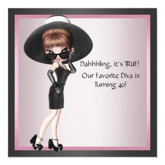 Das rosa Schwarz-40. Geburtstag Spaß-der Quadratische 13,3 Cm Einladungskarte