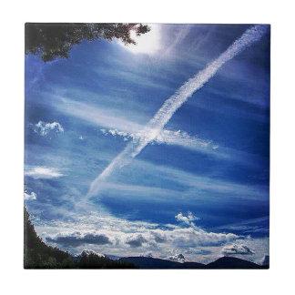 Das Saltire im Himmel Kleine Quadratische Fliese
