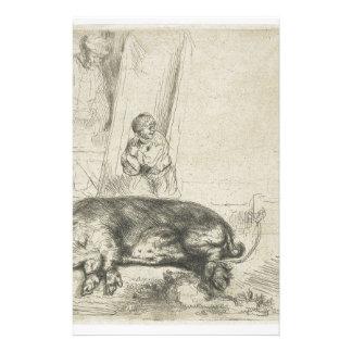 Das Schwein durch Rembrandt Briefpapier