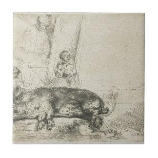 Das Schwein durch Rembrandt Fliese