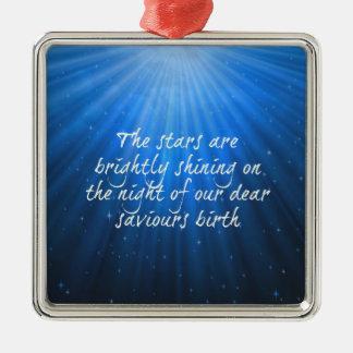 Das Stern-Glänzen hell auf der lieben Silbernes Ornament