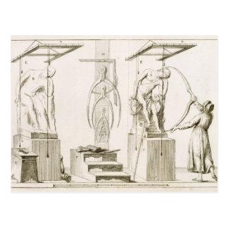 Das Studio eines Bildhauers, c.1800 (Stich) Postkarte