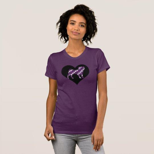 Das T-Shirt des Flecken-Arbeits-Mops lila