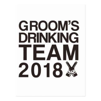 Das trinkende Team 2018 des Bräutigams Postkarte